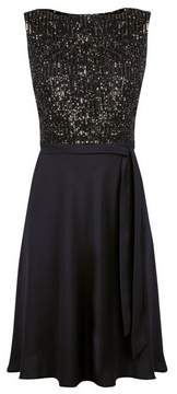 Dorothy Perkins Womens Petite Black Sequin Fit And Flare Dress, Black