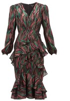 Saloni Alya Ruffled Metallic-jacquard Dress - Womens - Black Multi