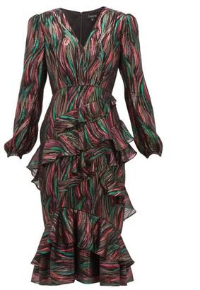 Saloni Alya Ruffled Metallic-jacquard Dress - Black Multi