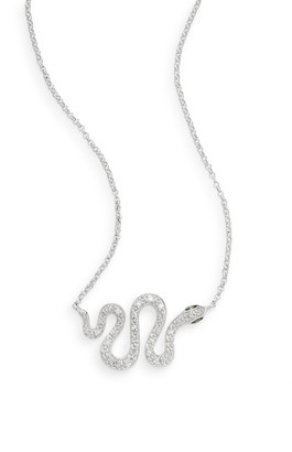 Effy Tsavorite, Diamond & 14K White Gold Snake Pendant Necklace