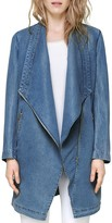 Soia and Kyo Draped Front Denim Jacket