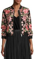 Needle & Thread Rose Embroidered Bomber Jacket, Black