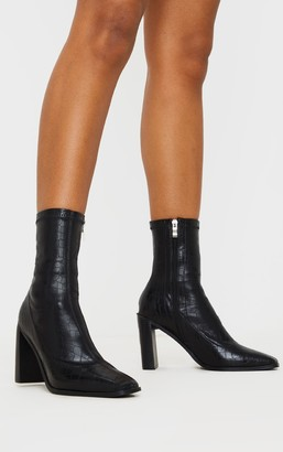Indigo Black Flat Heel Block Square Toe Sock Boot