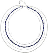 Liz Claiborne Silver-Tone Multi-Layer Navy Necklace