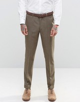 Asos Slim Suit Trousers In Brown Tweed