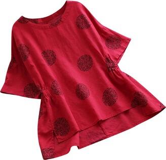 DEELIN Fashion Women Plus Size Dot Print O-Neck Loose Cotton Short Sleeved Casual Shirt Vintage Blouse T-Shirt(XL