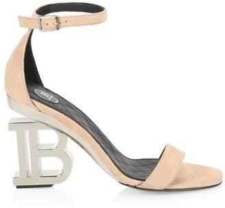 Balmain Naomi Logo-Heel Suede Sandals