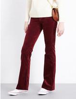 J Brand Maria flared high-rise velvet jeans