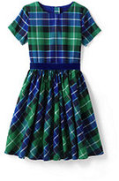 Lands' End Girls Twirl Dress-Blue Green Lurex Plaid