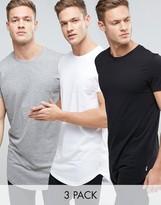 Jack and Jones Originals Longline Curved Hem T-Shirt 3 Pack SAVE