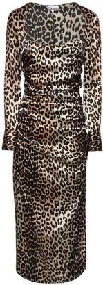 Ganni Leopard Print Stretch Silk Satin Dress