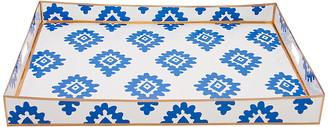 "Dana Gibson 22"" Block Print Tray - Blue"