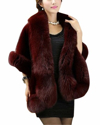 MISSMAO Faux Fur Wrap Shawl Women's Long Cape Bridal Shrug for Winter Wedding Evening Wine Red