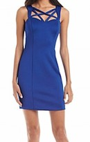 GUESS Blue Women's Size 4 Sheath Criss-Cross Neck Solid Dress