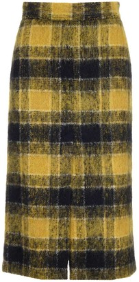 RED Valentino Checked Tweed Front Slit Skirt