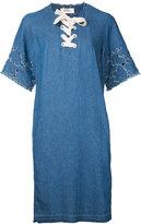 Muveil lace front shift dress - women - Cotton - 38