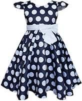 DreamHigh Toddlers Polka Dot Skirt Cap Sleeves Flowers Girl Vintage Bow Dress
