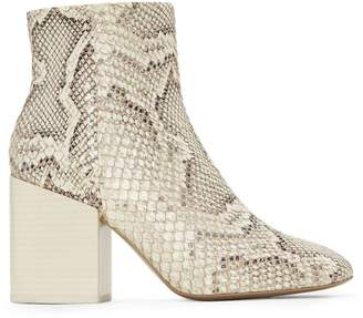 Mercedes Castillo Block-Heel Snakeskin-Embossed Leather Ankle Boots