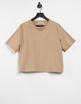 Weekday Trish organic cotton T-shirt in camel
