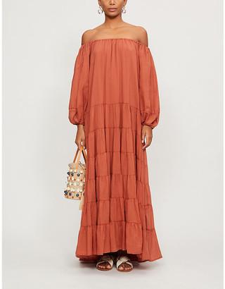 Erika Pena Brielle puffed-sleeve cotton maxi dress