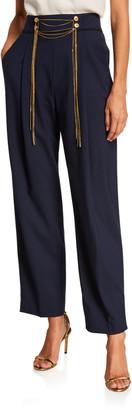 Oscar de la Renta High-Rise Chain Waist Pants