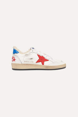 Golden Goose Ball Star Shearling-lined Distressed Leather Sneakers - White
