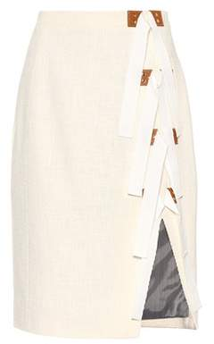 Altuzarra Sorbonne leather-trimmed cotton skirt