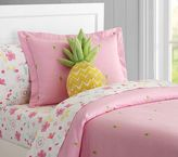 Pottery Barn Kids Oxford Embroidered Pineapple Duvet : Full/queen : Pink
