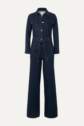 Frame Vintage Belted Denim Jumpsuit - Dark denim