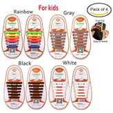 Pack of 4 No Tie Elastic Shoelaces For Adults with Free Tool, Konsait No-Tie Silicone Plastic Shoe Laces Waterproof Rubber Running Shoe Laces - (Black+White+Gray+Rainbow)