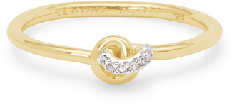 Kendra Scott Love Knot 14K Gold Band Ring in White Diamond