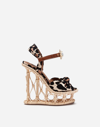 Dolce & Gabbana Wedges In Wicker And Raffia With Flocked Leopard Print And Bejeweled Buckle