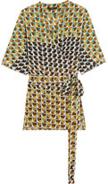 Etro Printed Silk Crepe De Chine Wrap Top - Yellow