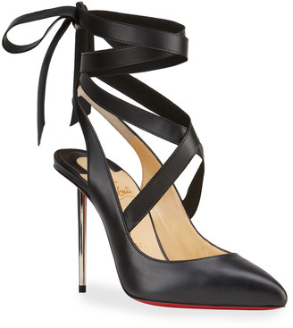 Christian Louboutin Epic Dance Ankle-Tie Red Sole Pumps