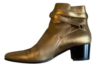 Saint Laurent West Jodhpur Gold Leather Ankle boots