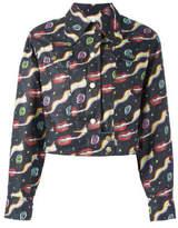 Olympia Le-Tan Smoking Lips Print Jacket - Black - Size FR38
