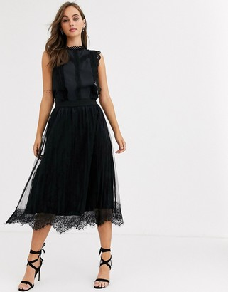 Pieces mesh lace pleated midi skirt in black