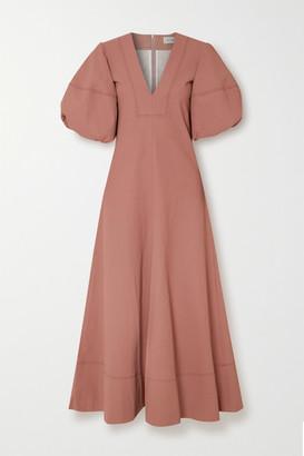 Lee Mathews Queenie Linen And Cotton-blend Maxi Dress - Brick
