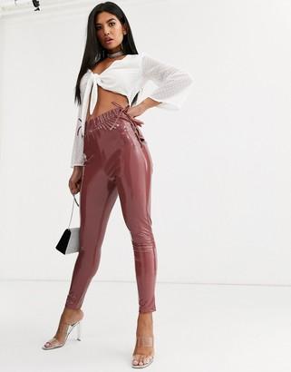 ASOS DESIGN lace up side vinyl skinny pants