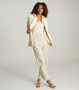 Reiss Madeline - Front Pocket Tapered Trousers in Neutral