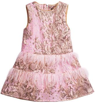 Imoga Nell Feather Trim Jacquard Dress