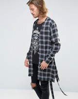 Asos Belted Kimono In Grey Shadow Check