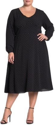 City Chic Sweet Spot Dot Print Long Sleeve Midi Dress (Plus Size)