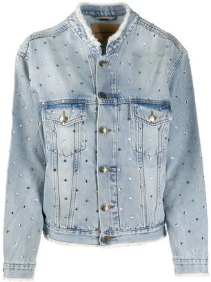 Alexandre Vauthier Rhinestone-Embellished Denim Jacket