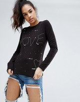 Love Moschino Flecked Long Sleeved T-Shirt