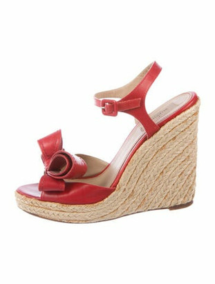 Valentino Leather Espadrilles Red
