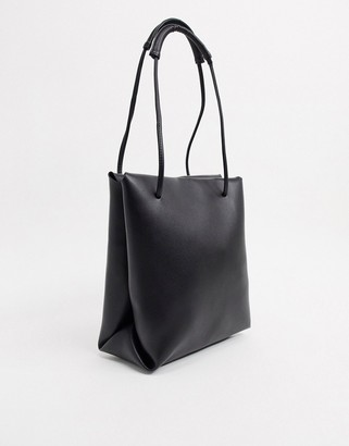 ASOS DESIGN clean shoulder tote bag in black
