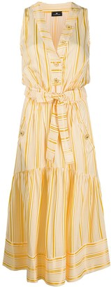 Elisabetta Franchi Striped Print Tiered Dress