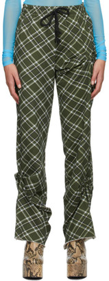 Dries Van Noten Green and White Check Lounge Pants