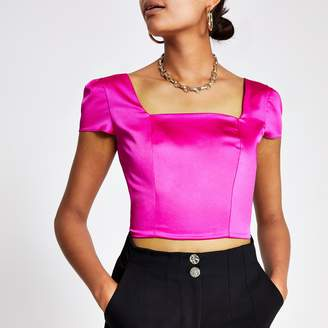 River Island Womens Pink square neck crop top